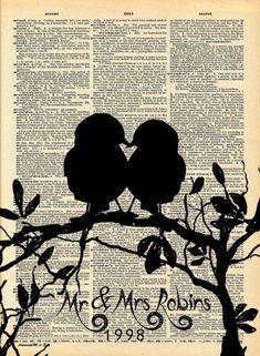 Your Family Tree Love Bird Family Antique Dictionary by HelloUwall