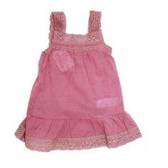 Vestido tira crochet sin mangas plumeti rosa - Mamuky