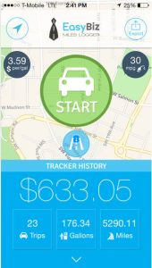 "EasyBiz - This app is a ""Miles Logger"" that makes keeping track of distance traveled, gas consumed and money spent, extremely easy. The app is wonderfully designed, extremely simple, yet still comprehensive, and will make keeping track of the odometer and your business expenses with a pen and a pad a thing of the past. Open up this app, and once you're ready to embark, simply press the big green ""START"" button in the center of the screen. Click the image for our full review."