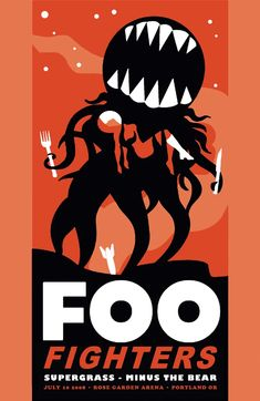 Rare Mini Print/Poster - Size: A4 (Approximately: 21 cm x 29.7 cm) 8.27 inches x 11.7 inches. Foo Fighters, Concert Posters, Portland, Poster Prints, The Unit, Mini, Gig Poster