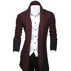 16.16$  Buy here - http://di4er.justgood.pw/go.php?t=153992709 - Turndown Collar Longline Color Block Cardigan