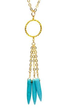 Skinny by Jessica Elliot  18K Gold Plated & Turquoise Spike Necklace