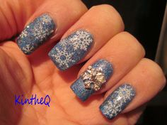 """""""Our First Snow"""" - Colors by Llarowe """"Monkey See Monkey Do"""" stamped with Konad White Polish and multiple snowflakes from the XL Plate OB-M. Glitter accents fished out of Sephora by OPI """"Beam Me Up Hottie"""". Snowflake rhinestone by Bundle Monster.  #nails #nailart #colorsbyllarowe #snowflakes"""