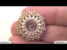Post beaded earring: a different way to bezel a Rivoli Swarovski using Delica and seed beads - YouTube