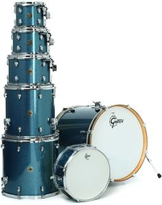 "Gretsch Drums Catalina Maple 7-Piece Kit with 22"" Bass Drum - Aqua Sparkle 