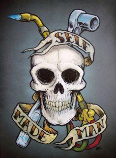 Best tattoo designs for guys sketches tat ideas Biker Tattoos, Skull Tattoos, Sleeve Tattoos, Car Tattoos, Welder Tattoo, Tool Tattoo, Geniale Tattoos, Back Tattoo, Epic Tattoo