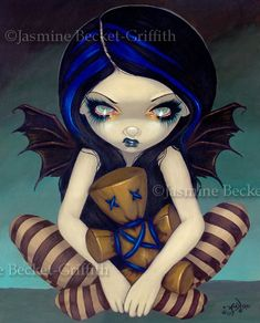 Hey, I found this really awesome Etsy listing at https://www.etsy.com/listing/109160786/voodoo-in-blue-witch-doll-goth-fairy-art