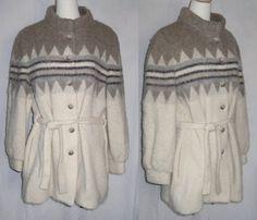 Fuzzy fair isle Icelandic coat jacket /1960s Hilda by SunsetStars, $75.00