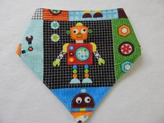 robot bandana-style drool bib **** bibs for boys **** robot baby bibs by SnazzyBoyClothing on Etsy