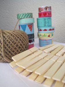 zelf, maken, knutselen, waslijn, knijpers, masking, tape, washi, plakband, touw, geboortekaartjes, zwanger, baby, kaartjes, geboorte, tekeni...
