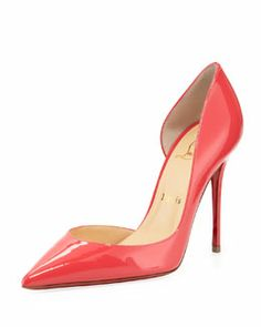 S048E Christian Louboutin Iriza Patent Pointy d'Orsay Red Sole Pump, Pink