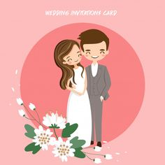 Cute indian bride and groom for wedding invitations card Vector Wedding Invitation Card Design, Wedding Card Design, Wedding Cards, Bride And Groom Cartoon, Wedding Couple Cartoon, Pink And White Background, Cute Love Cartoons, Indian Bride And Groom, Couple Illustration