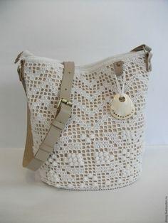 Купить вязаная сумка-торба, цвет: белый - белый, однотонный, сумка ручной работы