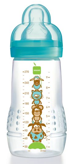 MAM Baby Bottle 9 oz.- Bahama Blue- Cute, lovable 'animal tree' design!