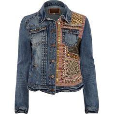 River Island Blue Half Embellished Stud Denim Jacket ($195) ❤ liked on Polyvore