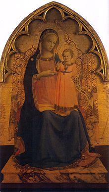 Maestà (Madonna in trono col bambino) | La Madonna col Bambino del Museo nazionale di San Marco di Firenze è un'opera, tempera su tavola, 189×81cm, di Beato Angelico, databile al 1430 circa.