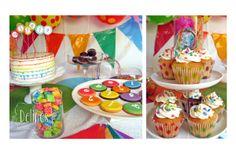 cupcakes con puntitos de arco iris