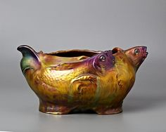 Zsolnay, Pécs, Eosin-Glaze Decorated Earthenware Bowl.