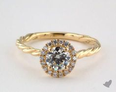 18K Yellow Gold Pave Halo Cabled Diamond Engagement Ring | 17980Y - Mobile