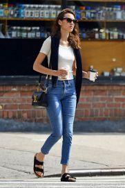 Alexa Chung wearing Birkenstocks