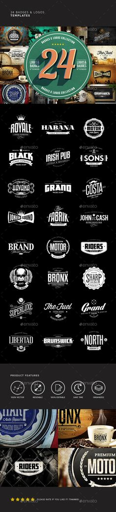 24 Badges & Logos Bundle — Photoshop PSD #typography #scalable • Available here → https://graphicriver.net/item/24-badges-logos-bundle/7103911?ref=pxcr