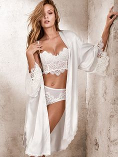 d813a6260d739 Lace-trim Satin Robe Dream Angels Bridal Lingerie