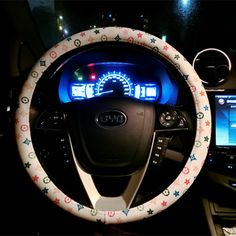 $34.85 Floral LV PU Leather Auto Car Steering Wheel Covers 15 inch 38CM - White, Selected high-grade PU Leather, do not fall off, Inner ring using Natural rubber, Green, No stimulation, Non-Slip, Excellent breathability, pest control, sterilization, anti-static, Easy to clean, no deformation, high wear resistance, Four Seasons General.