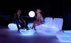 Vondom Pillow Patio Furniture glows in the dark to offer a different night atmosphere.
