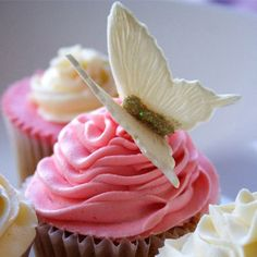 Delicate white butterfly perched on a pink rose frosting cupcake