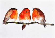 Winter Robins  ORIGINAL Watercolor bird painting by ArtCornerShop, $35.00