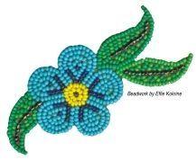 blue flower Native Beadwork, Native American Beadwork, Seed Bead Patterns, Beading Patterns, Seed Bead Crafts, Applique Patterns, Applique Ideas, Beading For Kids, Beadwork Designs
