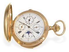 Taschenuhr: hochfeine, extrem schwere astronomische Goldsavonnette mit 6 Komplikationen, Henry Moser
