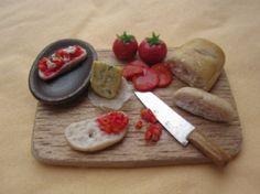 1/12 Miniature - Italian BRUSCHETTA with TOMATO and MOZZARELLA preparation board