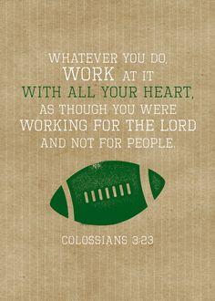 Printable Wall Art - Football Sports Printable - Colossians 3:23 - Scripture Printable - 5x7 Bible verse printable- Instant Download