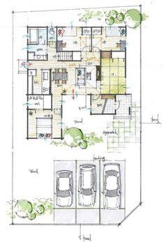 固定階段のロフト付平屋 Farnsworth House, Architecture Plan, Tiny House, House Plans, Villa, Floor Plans, Decoration, Layout, House Design