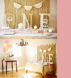 Elegant party - love the doily banner and glitter letters.