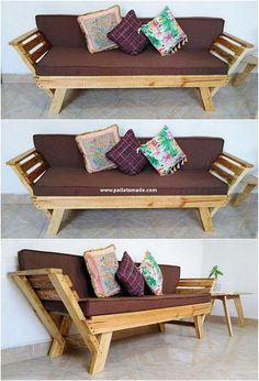 Bench designing of the wood pallet has been all settled in the rough and much traditional form of the designing variations. This bench is best to make it locate in the outdoor areas of the house which you would love for sure. Diy Furniture Cheap, Pallet Furniture Designs, Wooden Pallet Furniture, Pallet Sofa, Furniture Projects, Rustic Furniture, Wood Pallets, Furniture Making, 1001 Pallets