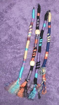 hippie hair accessories | Hippie Hair Wraps, Oranges and Blues, Yarn Falls, Braid & Dreadlock ...