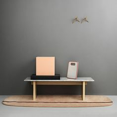 Italian marble coffee table by Normann Copenhagen. Also love the blush colour rug.