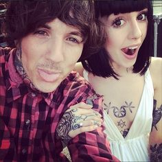 Tattoo artist Hannah Snowdon with her fiance Oliver Sykes! #tatooedcouples #love #bmth