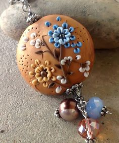 Golden Polymer Clay Autumn Pendant by PiperPixieDesigns, via Flickr