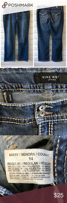 "NINE WEST Jeans 10.5"" rise, Inseam 30"". 75% cotton, 24% Polyester, 1% Spandex. Embezzlement's on the back pockets. New West jeans Jeans"