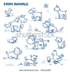 Vektor cute cartoon farm animals duck horse sheep goat donkey cow mouse pig dog cat chick hand drawn doodle vector illustration cactus for cats catcus scratching post cat tree boho cat tower Drawing Hands, Cat Drawing, Cartoon Dog, Cartoon Drawings, Horse Cartoon Drawing, Sheep Cartoon, Drawing Animals, Safari Animals, Cute Animals