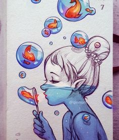 Image about girl in Drawings - Painting - illustration by Bà Già Bé Art Drawings Sketches, Cute Drawings, Cool Drawings Tumblr, Pencil Drawings, Tumblr Sketches, Random Drawings, Dibujos Tumblr A Color, Blowing Bubbles, Cute Art