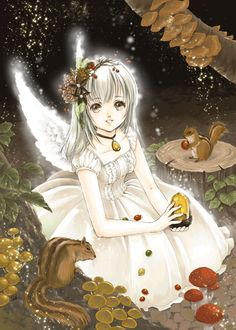 anime angel girl with squirrel