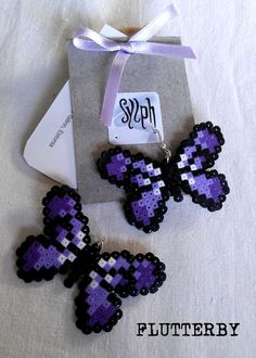 Butterflies earrings made of Hama Mini Beads Flutterby by SylphDesigns Supernatural Style Hama Beads Design, Diy Perler Beads, Perler Bead Art, Pearler Beads, Fuse Beads, Melty Bead Patterns, Pearler Bead Patterns, Perler Patterns, Beading Patterns