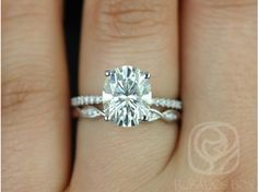 Rosados Box Darcy 10x8mm and Ember White Gold Oval FB Moissanite and Diamonds Cathedral Wedding Set