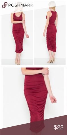 Rushed Racer Back Dress Soft material, size small, rushed on the sides, mid-calve length, never worn, brand new, racer back, deep red color-NWOT Dresses Maxi