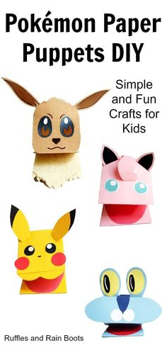 Make these adorable Pokemon paper puppets. It's such a quick, easy, and fun craf… Make these adorable Pokemon paper puppets. It's such a quick, easy, and fun craft for kids and fans of Pokemon!