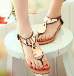 ENMAYER Fashion Women Sexy Sequined Sandals 2014 New Flat Heel Rome Style Summer Shoes Ladies Dress Casual Sandals $59.98